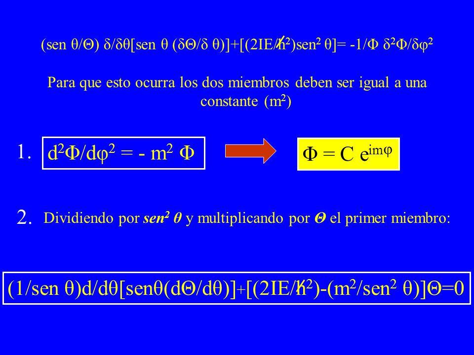 (sen θ/Θ) δ/δθ[sen θ (δΘ/δ θ)]+[(2IE/h2)sen2 θ]= -1/Φ δ2Φ/δφ2